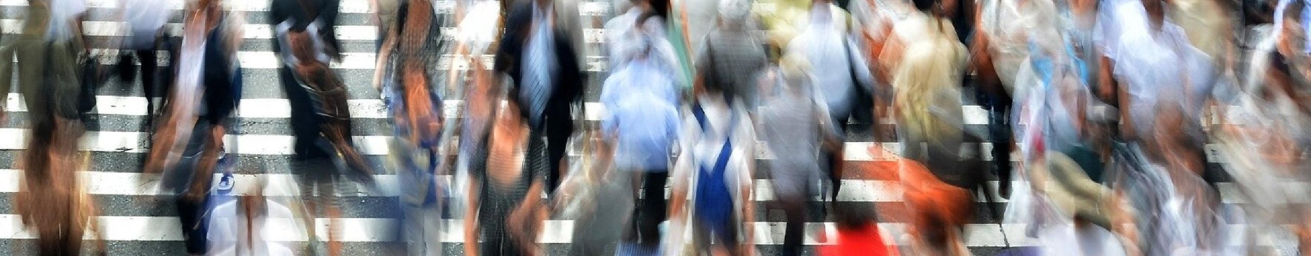 People walking panel background
