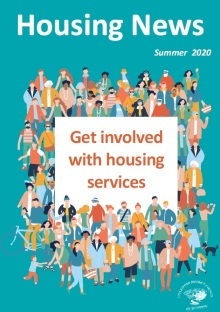 "Housing News Summer 2020 Front cover - image of a crowd of people with heading ""Get involved with Housing Services"""