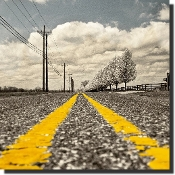 Roadway with two yellow lines disappearing into the distance