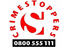 Crimestoppers logo featuring telephone number