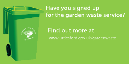 Sign up for our garden waste service, banner showing a garden waste bin and a link to the page to sign up for the service